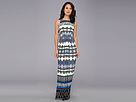 Donna Morgan - Matte Jersey Sleeveless Maxi with Front Tucks (Holland Blue Multi) - Apparel