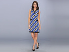 Donna Morgan - Matte Jersey Sleeveless Dress with Border and Front Pocket (Ultramarine Multi) - Apparel
