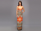 Donna Morgan - Matte Jersey Sleeveless Maxi with Embroidery and Front Tucks (Orange Multi) - Apparel