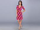 Donna Morgan - Faux Wrap Jersey Dress (Fuchsia/Orange) - Apparel