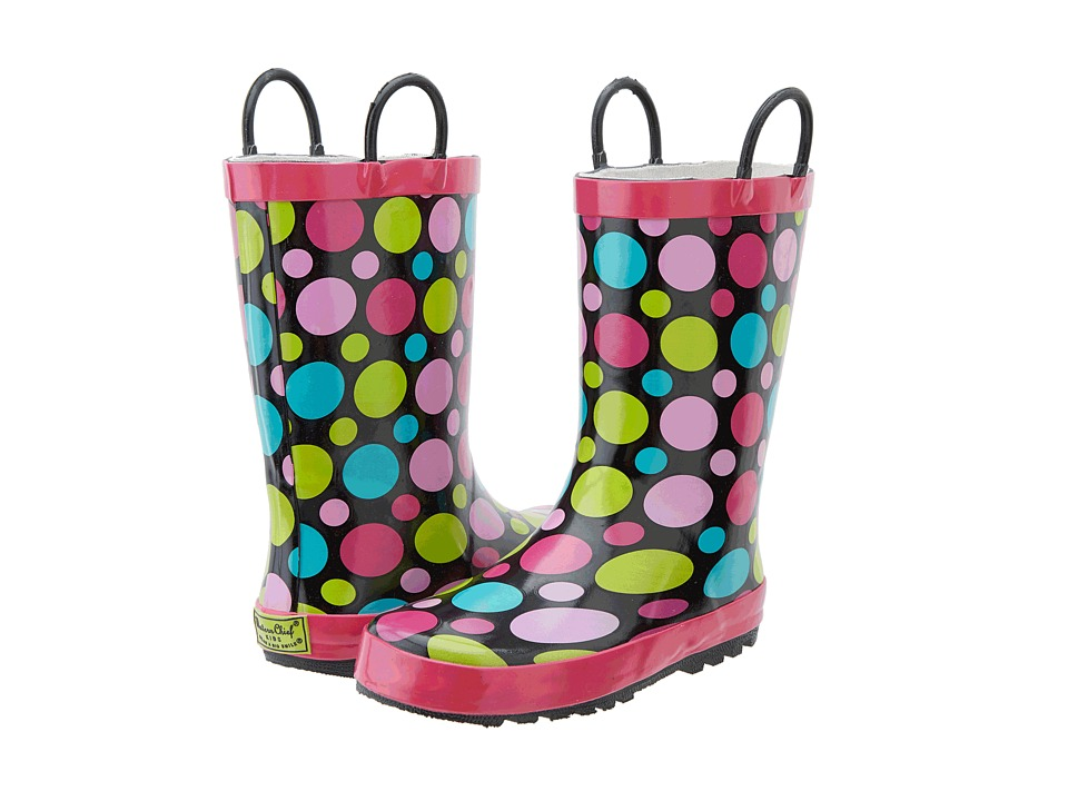Western Chief Kids Dot Party Rain Boot (Toddler/Little Kid/Big Kid) (Black) Girls Shoes