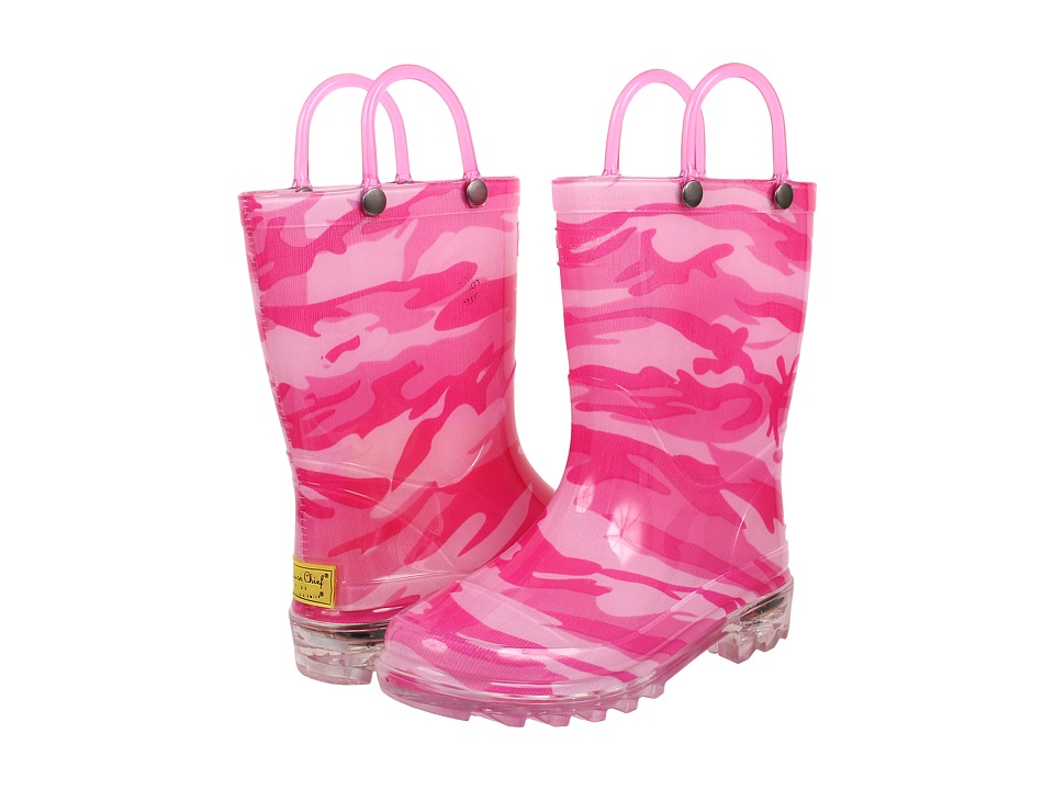 Western Chief Kids Camo Lighted Rain Boot (Toddler/Little Kid) (Fuchsia) Girls Shoes