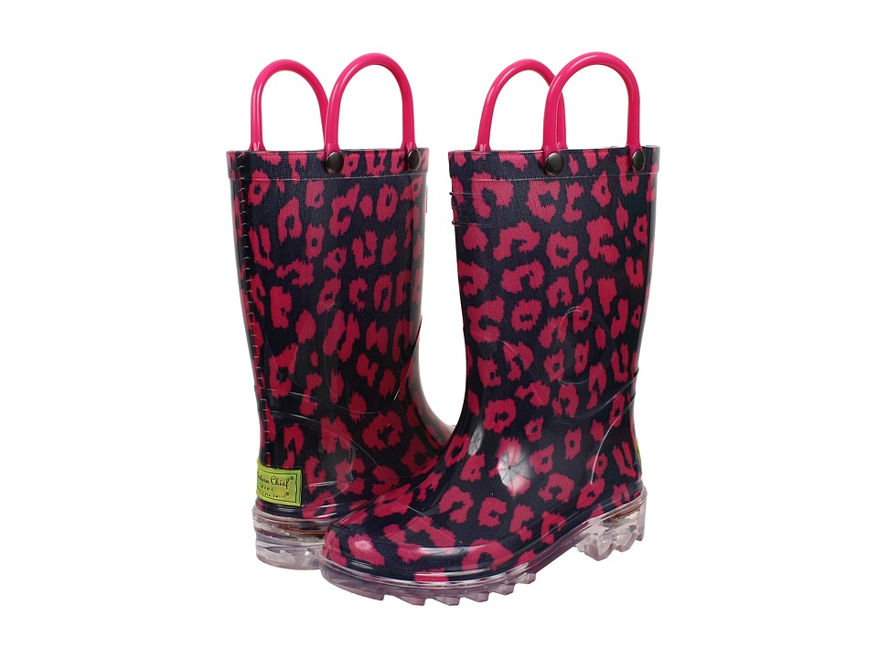 Western Chief Kids Wild Cat Lighted Rain Boot Toddler/Little Kid Navy Girls Shoes