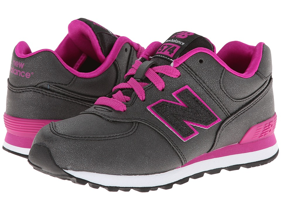 New Balance Kids 574 (Little Kid) (Black/Pink) Girls Shoes
