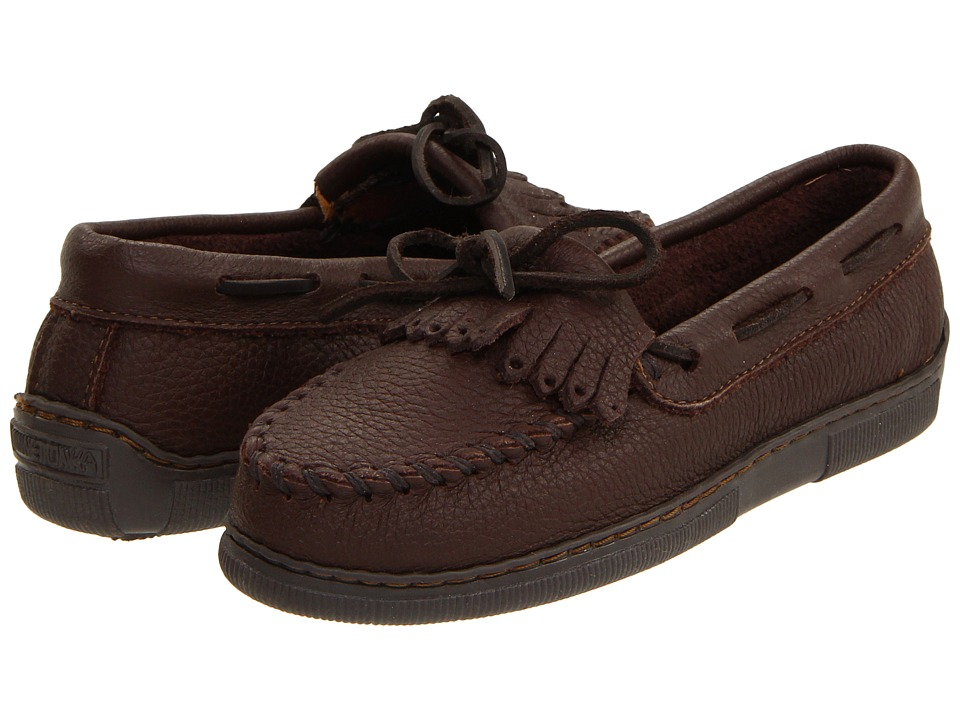 Minnetonka Moosehide Fringed Kilty Chocolate Moosehide Womens Shoes