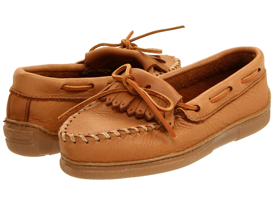 Minnetonka Moosehide Fringed Kilty Natural Moosehide Womens Shoes