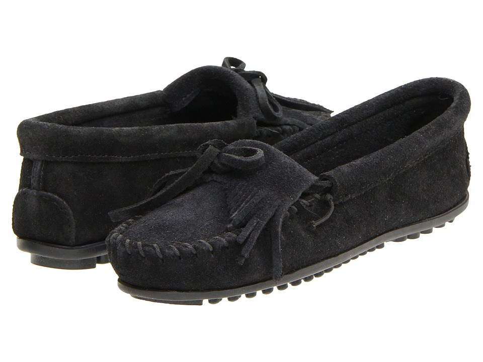 Minnetonka Kilty Suede Moc Black Suede Womens Moccasin Shoes