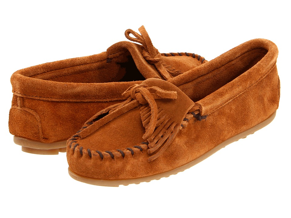 Minnetonka Kilty Suede Moc Brown Suede Womens Moccasin Shoes