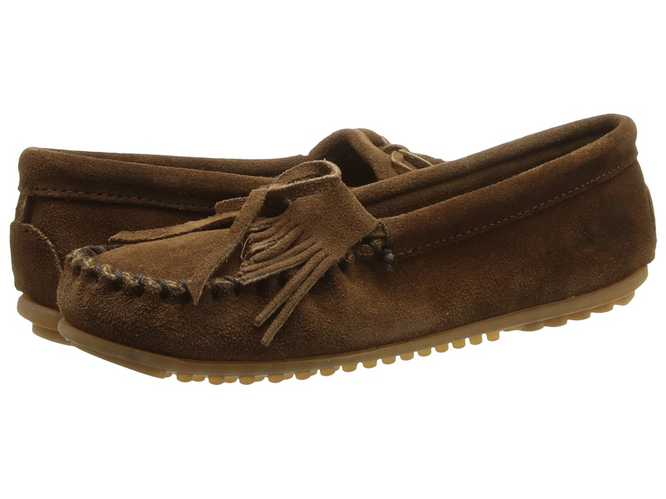 Minnetonka Kilty Suede Moc Dusty Brown Suede Womens Moccasin Shoes