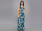 Donna Morgan - Chiffon Pleated Maxi (Azure Multi) - Apparel
