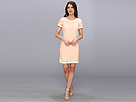 Donna Morgan - Short Sleeve Flower Lace T-Shirt Dress (Pale Peach/White) - Apparel