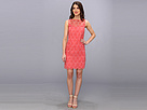 Donna Morgan - Flower Organza Sleeveless Sheath with Illusion and Scallop Hem Detail (Cosmo Pink) - Apparel
