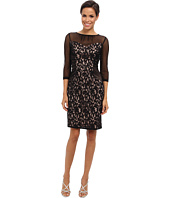 Adrianna Papell - Mesh Sleeve Lace Dress