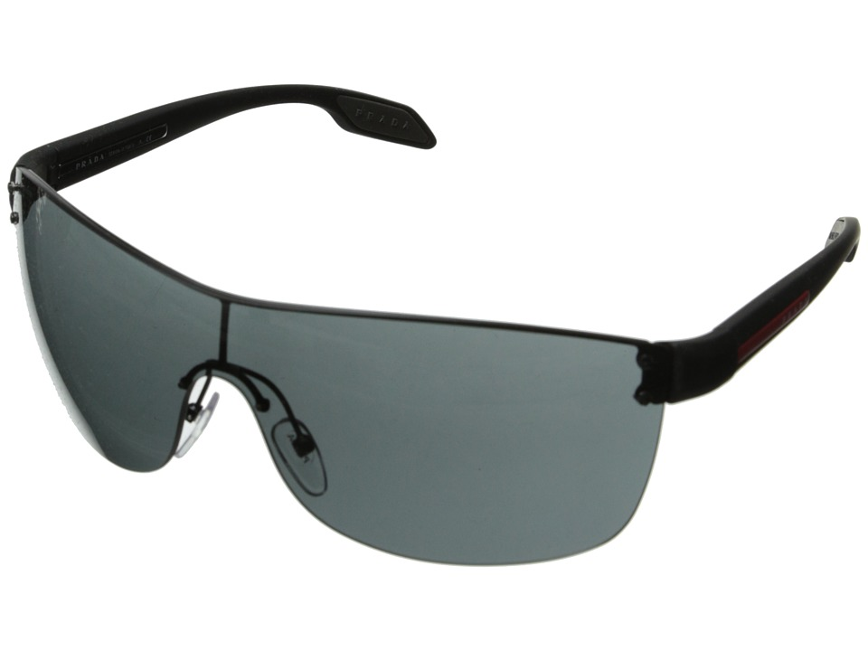 Prada Linea Rossa 0PS 54PS Black Rubber/Grey Fashion Sunglasses
