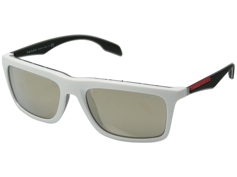 Prada Linea Rossa 0PS 02PS White/Light Brown Mirror Fashion Sunglasses