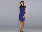 Donna Morgan - Seamed Body Con Dress w/ Shoulder Zippers (Batik Blue/Black) - Apparel