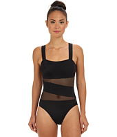 DKNY - Solids w/ Mesh Splice Maillot w/ Removable Soft Cups
