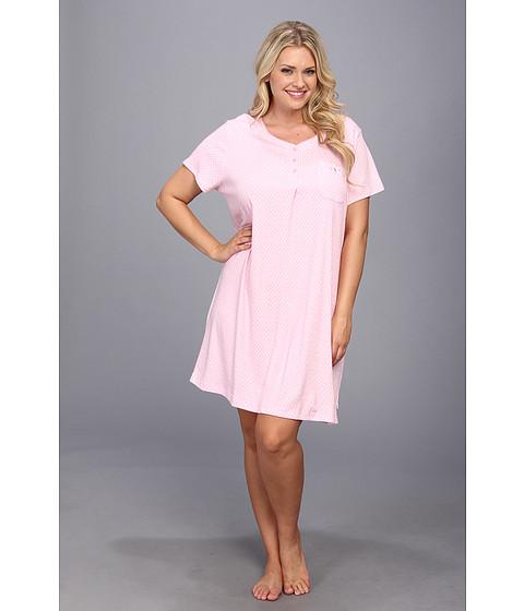 Karen Neuburger - Plus Size Caravan S/S Henley Nightshirt (Dot/Pink) - Apparel