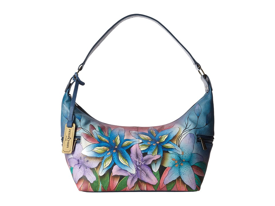 Anuschka Handbags - 510 (Lucious Lillies Denim) Hobo Handbags