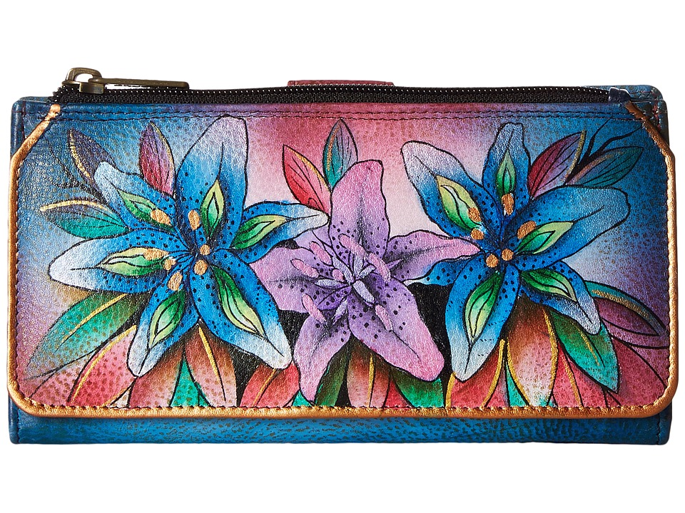 Anuschka Handbags - 1114 (Luscious Lilies Denim) Handbags