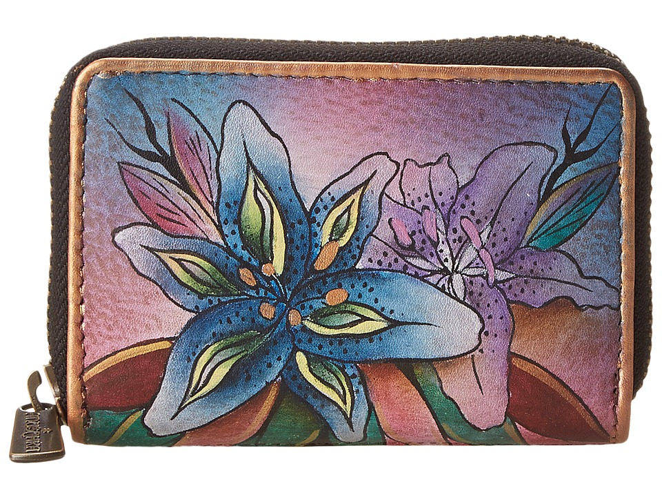 Anuschka Handbags 1110 Luscious Lilies Denim Coin Purse