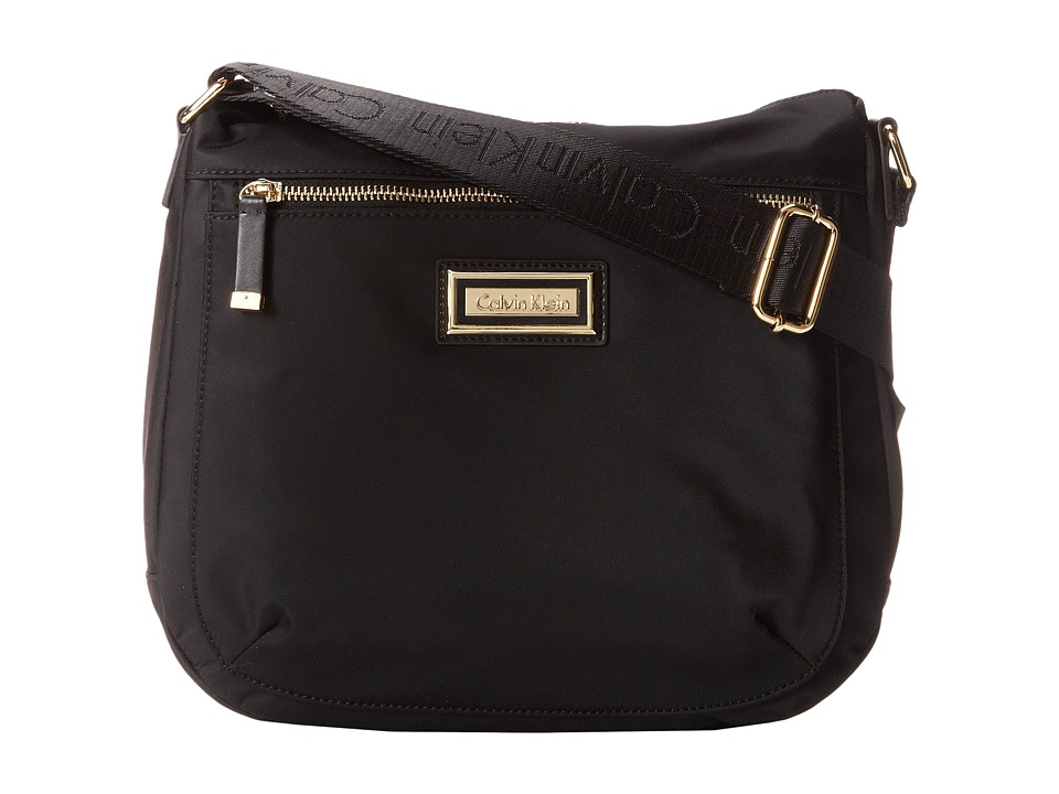 Calvin Klein - Key Item Nylon Messenger H3JFE1CW (Black/Gold) Cross Body Handbags