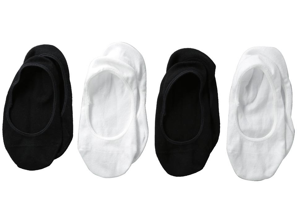 Jefferies Socks Seamless Cotton Footie 4 Pack Toddler/Little Kid/Big Kid Black/White Girls Shoes