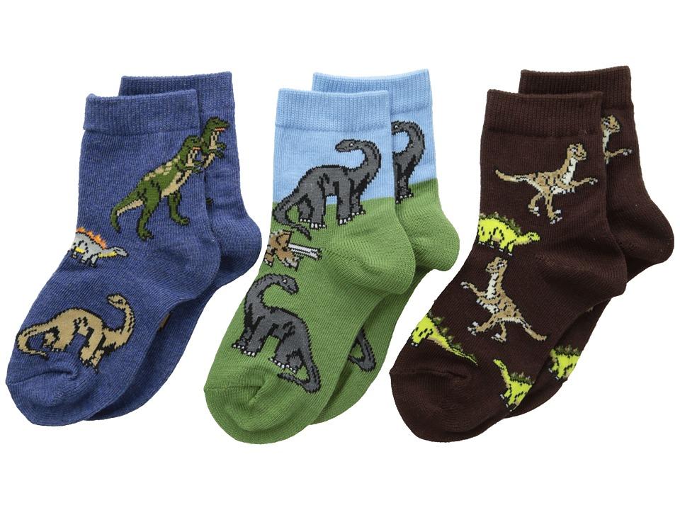 Jefferies Socks Dino Triple Treat 3 Pack Infant/Toddler/Little Kid Pine Boys Shoes
