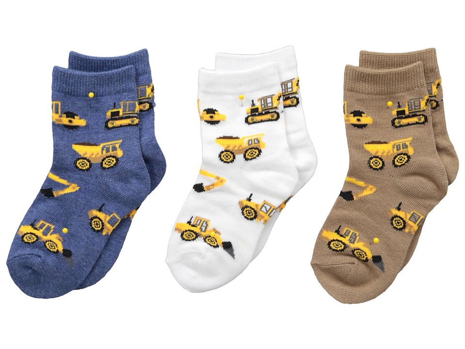 Jefferies Socks - Construction Triple Treat 3-Pack (Infant/Toddler/Little Kid) (Putty) Boys Shoes