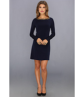 Vince Camuto - Long Sleeve Beaded Neckline Shift Dress