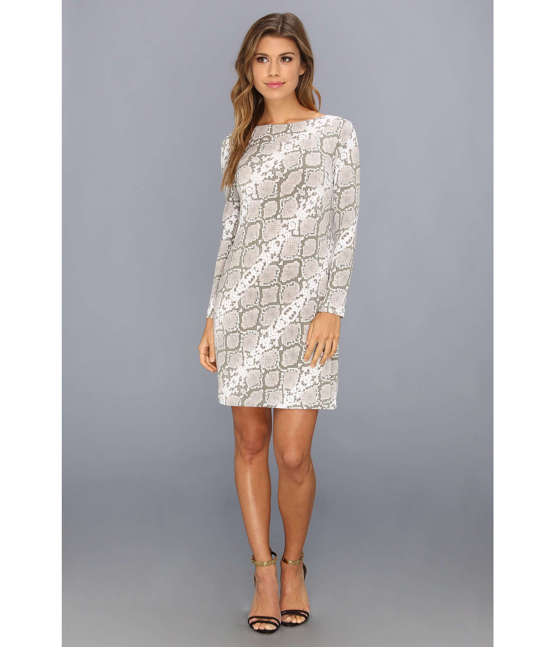 Vince camuto printed jersey long sleeve shift dress rattle shipped