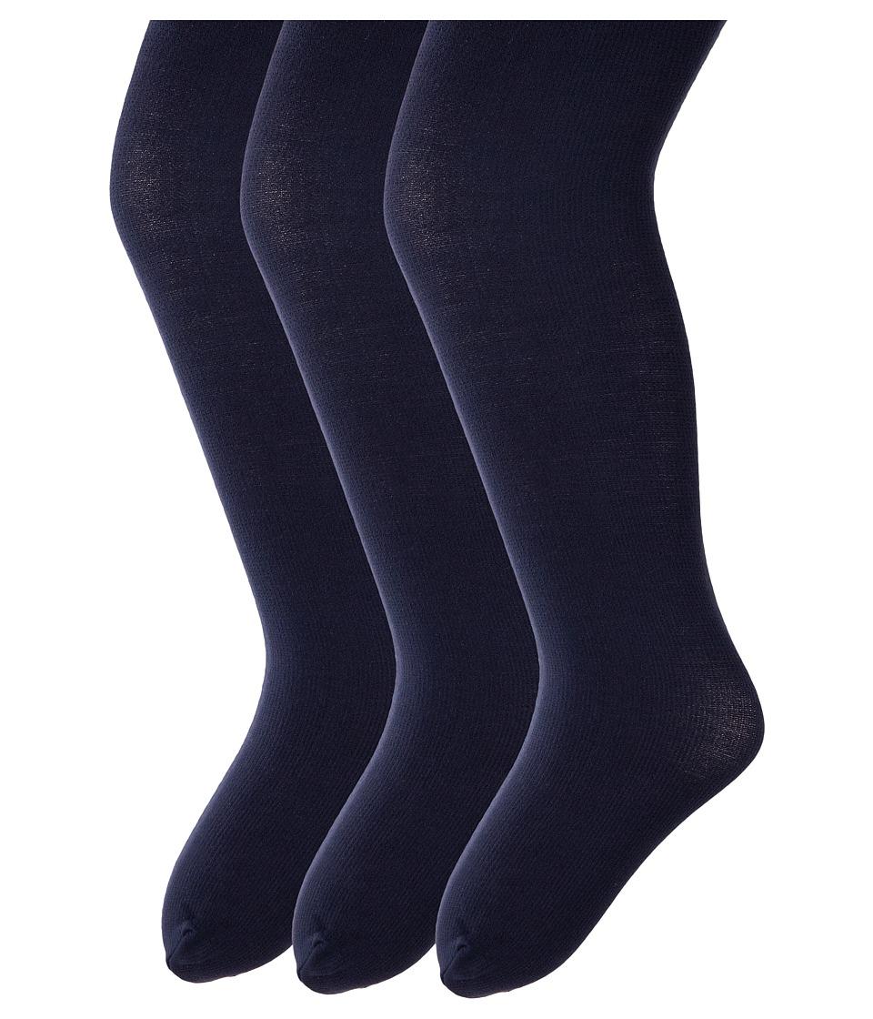 Jefferies Socks Pima Cotton Tights 3-Pack (Infant/Toddler/Little Kid/Big Kid) (Navy) Hose