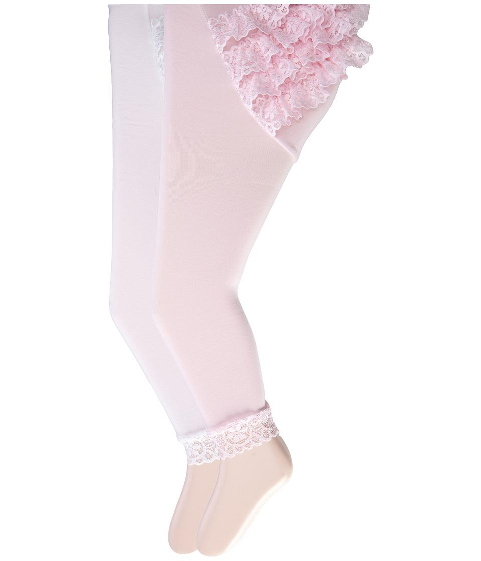 Jefferies Socks Microfiber Rumba Footless 2 Pack Infant/Toddler Asst A 1 White 1 Pink Hose
