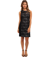 Vince Camuto - Sleeveless Lace Dress w/ Contrast Jersey Side Panels