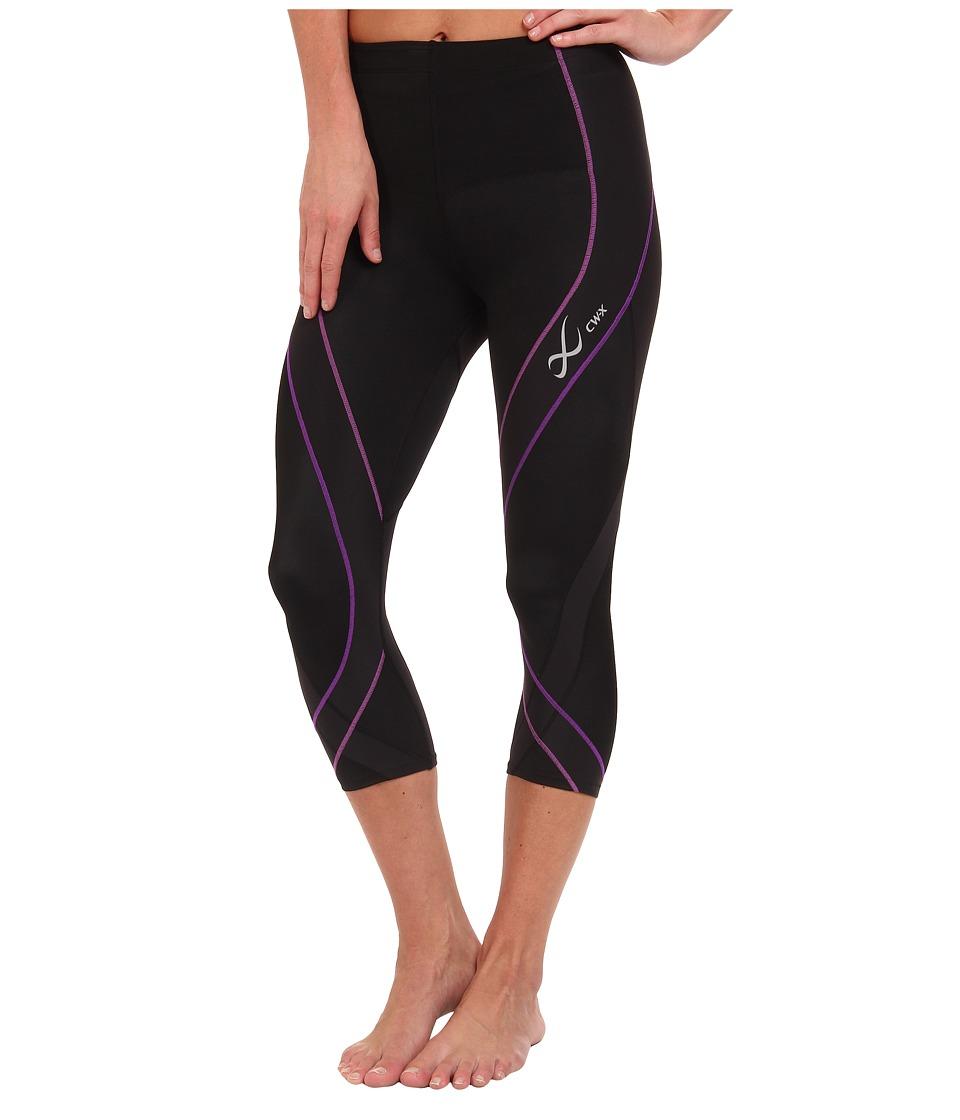 CW X Pro 3/4 Tight Black/Light Purple/Purple Womens Workout