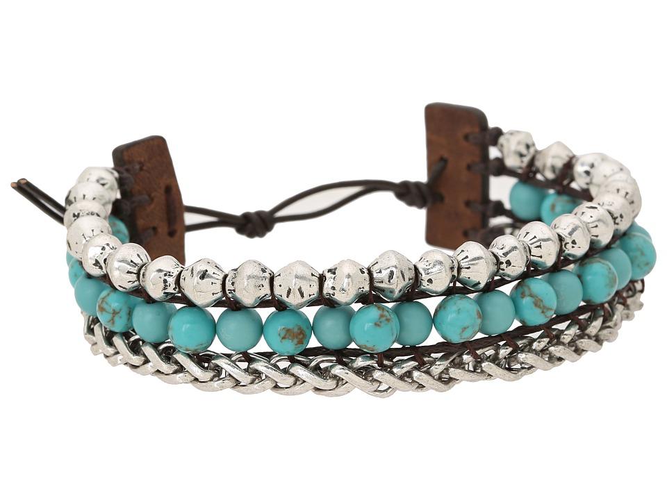 Lucky Brand - Blue Faux Wrap Bracelet (Silver) Bracelet