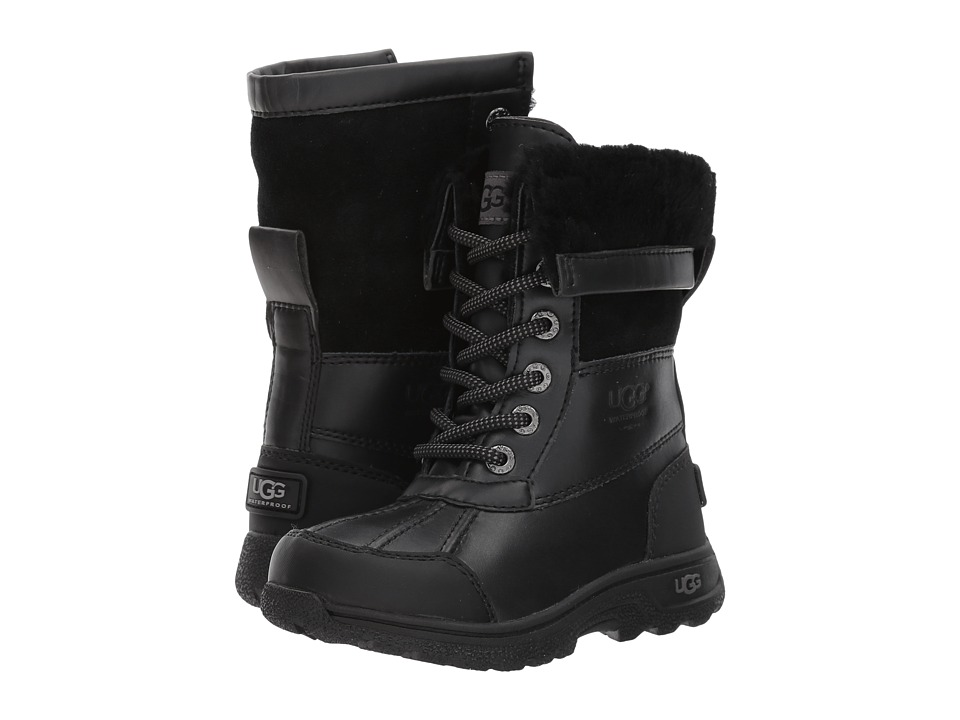 UGG Kids Butte II Little Kid/Big Kid Black Leather Kids Shoes