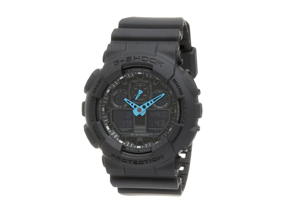 G Shock GA 100 Neon Highlights Black/Blue Watches