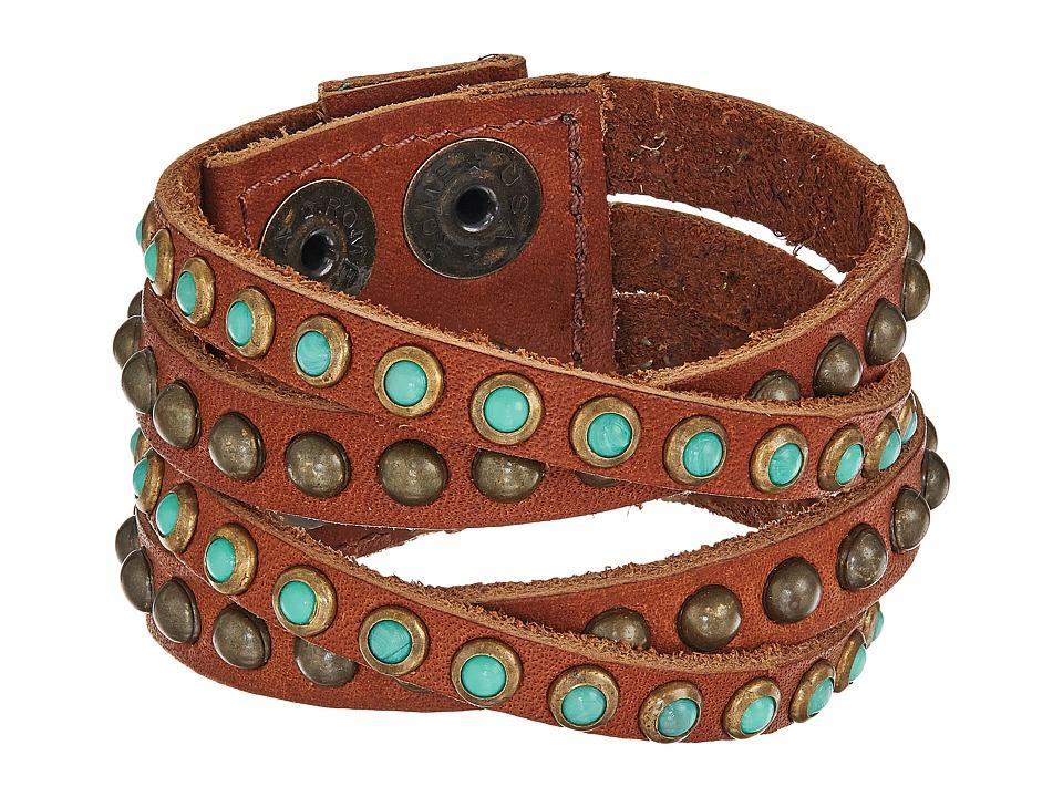 Leatherock - B339 (Vintage Brown/Turquoise/Coral) Bracelet