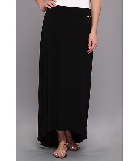 search calvin klein rayon spandex hi low maxi skirt black
