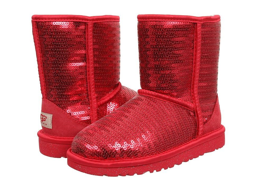 UGG Kids Classic Short Sparkles (Little Kid/Big Kid) (Ruby Red) Girls Shoes