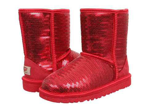 UGG Kids Classic Short Sparkles (Little Kid/Big Kid) - Ruby Red