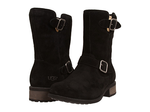 Shop UGG online and buy UGG Chaney Black Shoes - UGG - Chaney (Black) - Footwear: Look and feel like a little snow bunny in the cold-weather ski country with the UGG Chaney boot. ; Water-resistant suede upper with buckle details for added appeal. ; Zipper closure for easy on-and-off wear. ; Natural wool lining and footbed for breathable warmth. ; Rubber heel and outsole for a confident stride. ; Imported. Measurements: ; Heel Height: 1 1 4 in ; Weight: 1 lb 1.5 oz ; Circumference: 13 in ; Shaft: 8 in ; Product measurements were taken using size 7, width B - Medium. Please note that measurements may vary by size.