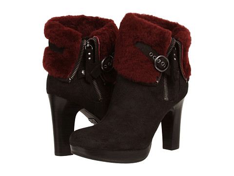 Shop UGG online and buy UGG Scarlett Black-Oxblood Suede Shoes - UGG - Scarlett (Black/Oxblood Suede) - Footwear: These UGG Scarlett boots have all the sass and more! ; Leather and suede upper. ; Side zip closure with non-functional, buckled strap for easy on and off. ; Signature sheepskin cuffs. ; Leather wrapped heel. ; Plush Poron foam-cushioned footbed for all-day comfort. ; Leather lined heel and 7mm curly UGGPure forefoot. ; New rubber outsole. ; Antique brass UGG logo plate on arch. ; Heat-embossed logo on heel. ; Imported. Measurements: ; Heel Height: 3 3 4 in ; Weight: 15.5 oz ; Circumference: 10 in ; Shaft: 7 in ; Product measurements were taken using size 7, width B - Medium. Please note that measurements may vary by size.