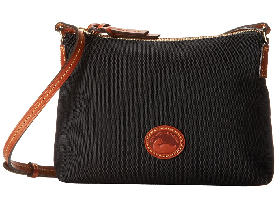 Dooney & Bourke - IN Nylon New SLGS Styles Crossbody Pouchette (Black w/ Tan Trim) Cross Body Handbags