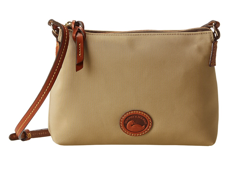 Dooney amp Bourke IN Nylon New SLGS Styles Crossbody Pouchette Khaki w/ Tan Trim Cross Body Handbags