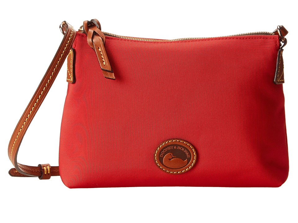 Dooney amp Bourke IN Nylon New SLGS Styles Crossbody Pouchette Red w/ Tan Trim Cross Body Handbags