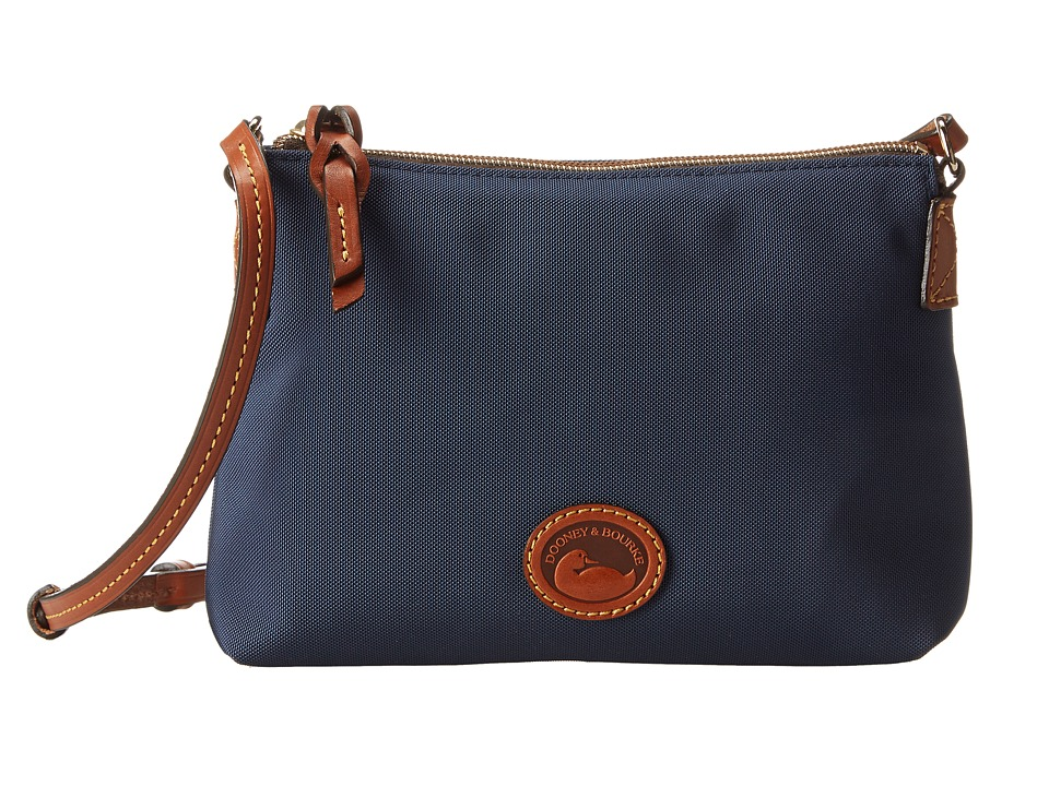 Dooney amp Bourke IN Nylon New SLGS Styles Crossbody Pouchette Navy w/ Tan Trim Cross Body Handbags
