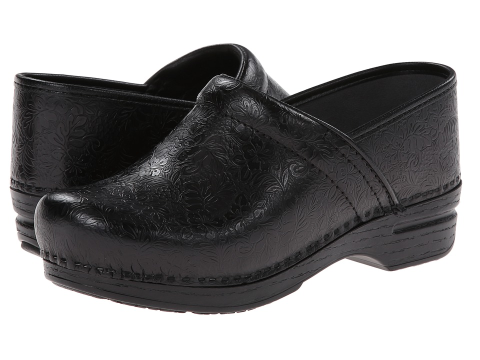 Dansko Pro XP (Black Floral Tooled) Women's Clog Shoes