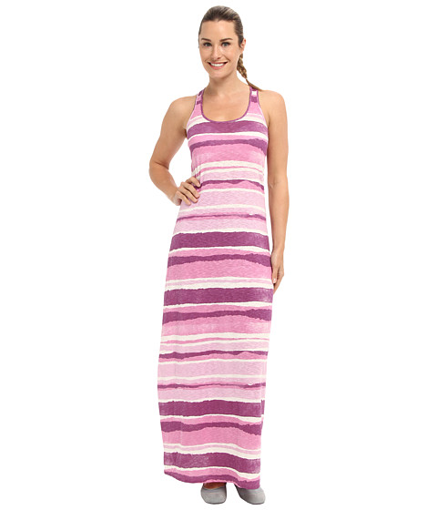 Shop Life is good online and buy Life is good Racerback Maxi Dress Plum Stripe Online - Life is good - Racerback Maxi Dress (Plum Stripe) - Apparel: Embrace the sun-soaked life with a delightful Life is good dress. ; Fabricated from a lightweight cotton slub. ; Garment washed for softness. ; Screen printed watercolor stripes featured throughout. ; Scoop neckline and sleeveless construction. ; Racerback design. ; Classic maxi silhouette. ; Straight hemline. ; 100% cotton. ; Machine wash cold, tumble dry low. ; Imported. Measurements: ; Length: 56 in ; Product measurements were taken using size SM (US 4-6). Please note that measurements may vary by size.